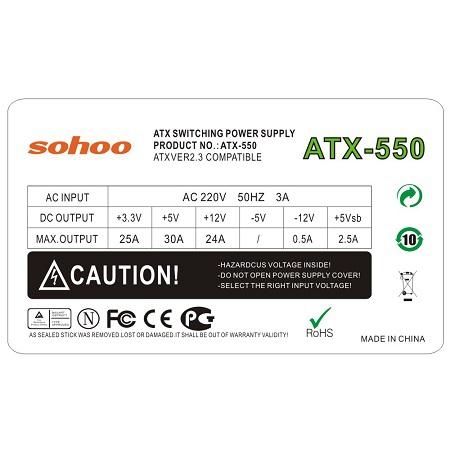 Nguồn máy tính ATX550F giá rẻ tại hà nội